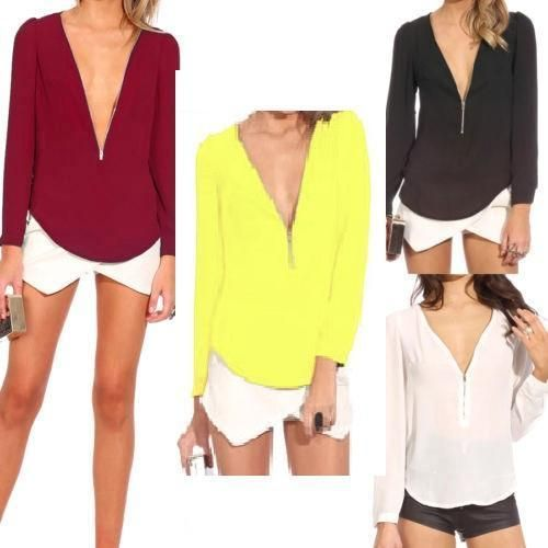 Sexy Ladies Chiffon Zip V Neck Long Sleeve Casual Blouse T-shirts Shirt Tops