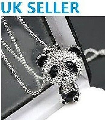 SILVER PLATED CUTE CRYSTAL PANDA PENDANT LONG SWEATER DRESS CHAIN NECKLACE GIFT