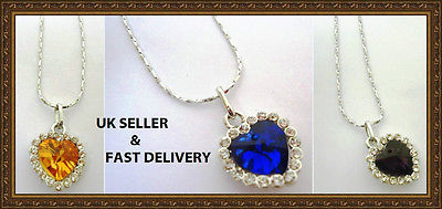 TITANIC heart of ocean blue crystal necklace pendant