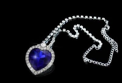 TITANIC HEART OF THE OCEAN NECKLACE BLUE CRYSTAL ROMANTIC GIFT