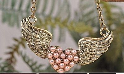 VINTAGE BRONZE STRIPE ANGEL WING CARVED PINK PEARL HEART CHAIN NECKLACE