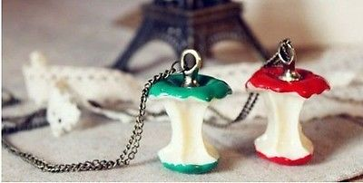 Vintage Cute girl's Green Red Fruit Apple Core Shape Pendant Necklace