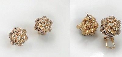 VINTAGE STUNNING ROSE FLOWER SHAPED EARRING IN GOLD TONE PLATED & CRYSTALS STUDS