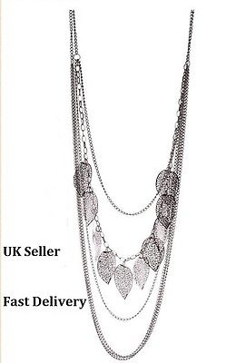 Vintage Style Bohemia Women Multilayer leaves Long Chain Necklace