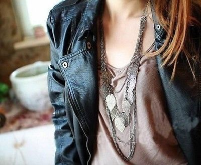 Vintage Style Bohemia Women Multilayer leaves Long Chain Necklace Gift