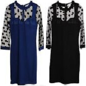VINTAGE WOMEN LADIES LACE BODYCON DRESS HALF SLEEVE POLKA DOTS BLACK/BLUE
