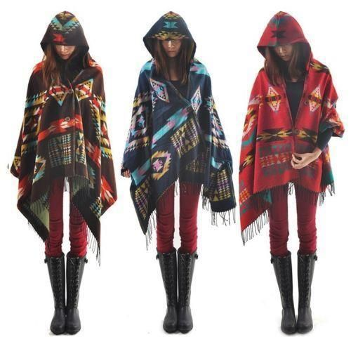 Women Bohemian Jacket Toggle Cape Coat Fringe Poncho Hoodie Hooded Scarf Shawl