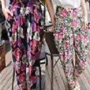 Women Fashion Harem Yoga Baggy Floral Print Elastic Pants Stretch Trousers M/L