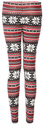 Women/Girl Colorful Soft Knitted Double Layer Snowflake Leggings Gift