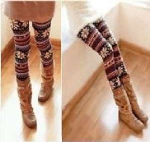 Women/Girl Colorful Soft Knitted Double Layer Snowflake Leggings Pantyhose Gift