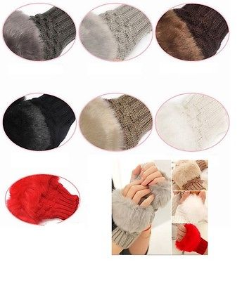 Women Girl Rabbit Fur Hand Wrist Winter Knitted Warmer Fingerless Mitten Gloves