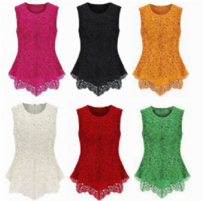 Women Girl Sleeveless Embroidery Lace Flared Peplum Crochet Top Vest blouse Gift