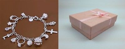 Women Girls 13 Charms Jewellery Solid Silver Bangle/Bracelet Gift +Pink box