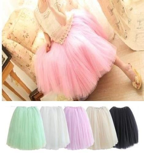 WOMEN GIRLS 6 Layer TUTU PETTICOAT LONG SKIRT ROCKABILLY TULLE GOTH BALLET SKIRT