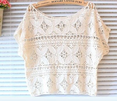 Women Girls Crochet Knit Lace Flower Hollow Out Crop Top Beige/White