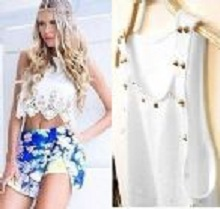 Women Girls Crop Top with Stud Sleeveless Stretch Vest Tank Hollow Scallop