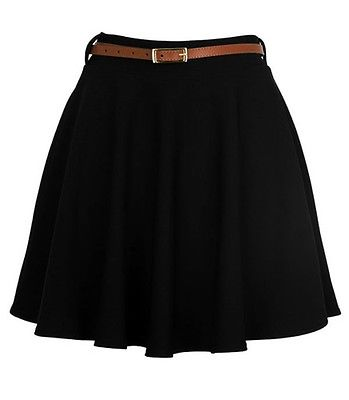 Women Girls Skater Belted Stretch Waist Plain Flippy Flared Jersey Short Skirt