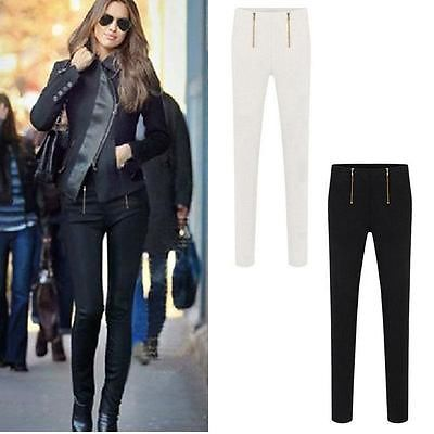 Women Ladies High Waisted Stretch Slim Fit Skinny Zip Pants Leggings Trousers