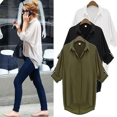 Women Long Sleeve Lapel Collar Casual Shirt Top Chiffon Top Blouse