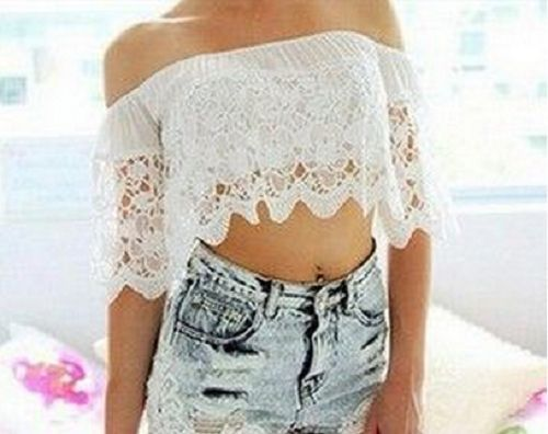 Women Off Shoulder Lace Chiffon Crochet Crop Tops Shirt Blouse