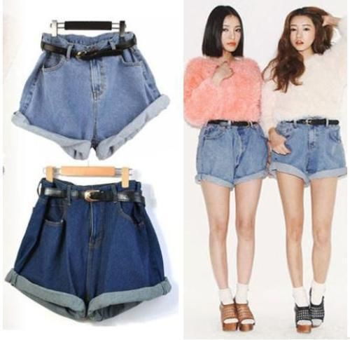 Women's Girl Retro Vintage Style Oversize Crimping Denim High Waist Jean Shorts
