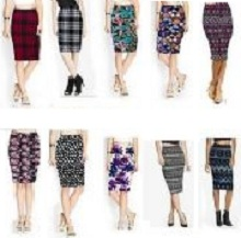 Women Skirt Print Style Stretchy High Waist Pencil Midi Skirt