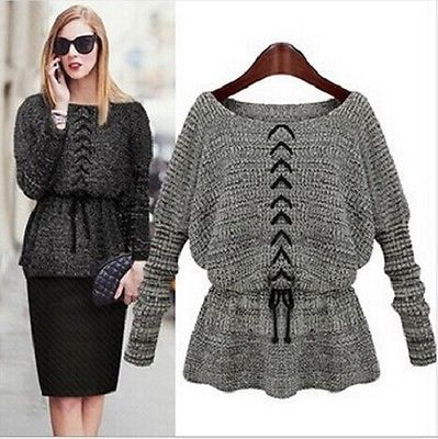 Women Winter Long Sleeve Knitted Jumper Sweater Tops Pullover