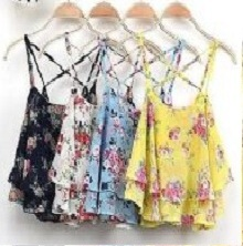 Womens Double Layer Chiffon Sleeveless Blouse Flower print Baggy Loose Vest Top