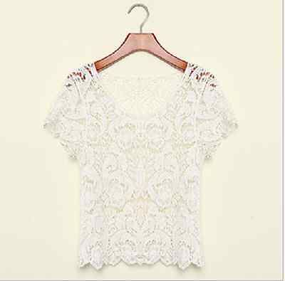 Womens Hand made Crochet Knit Lace Flower Hollow Out Outer Shirt Top Blouse