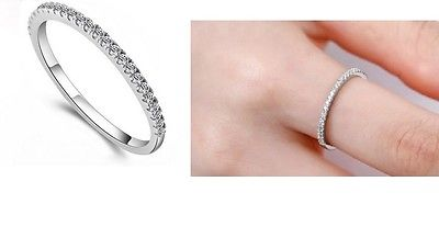WOMENS LADIES 925 STERLING SILVER BAND RING WITH CLEAR DIAMOND CRYSTAL 2MM